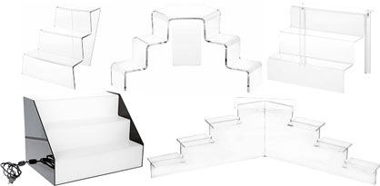 Acrylic Display Risers Clear Pedestal Stairs Plastic Step