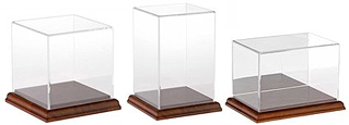 Acrylic Display Cases with Hardwood Base