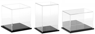 Clear Acrylic Display Cases with Black Base