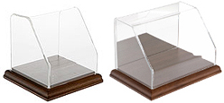 Slanted Front Acrylic Display Cases with Hardwood Base