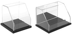 Slanted Front Display Cases with Black Base