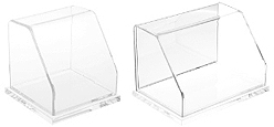 Slanted Front Acrylic Display Cases with Clear Base