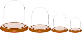 Glass Domes with Oak Veneer Bases