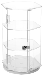 Clear Acrylic Hexagonal Locking Display Cases