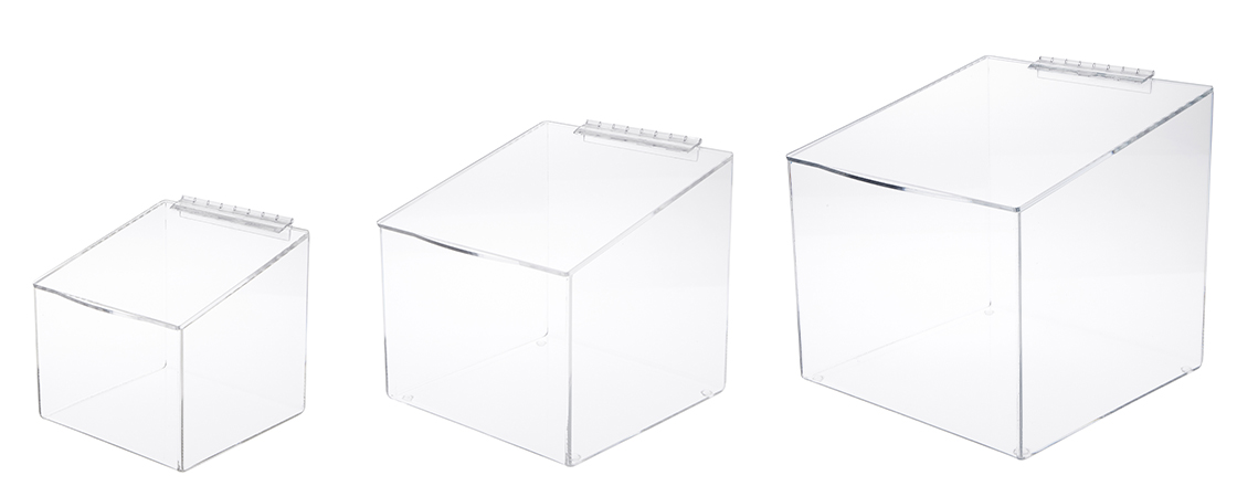 Acrylic Display Cases with Angled Top & Hinged Lid