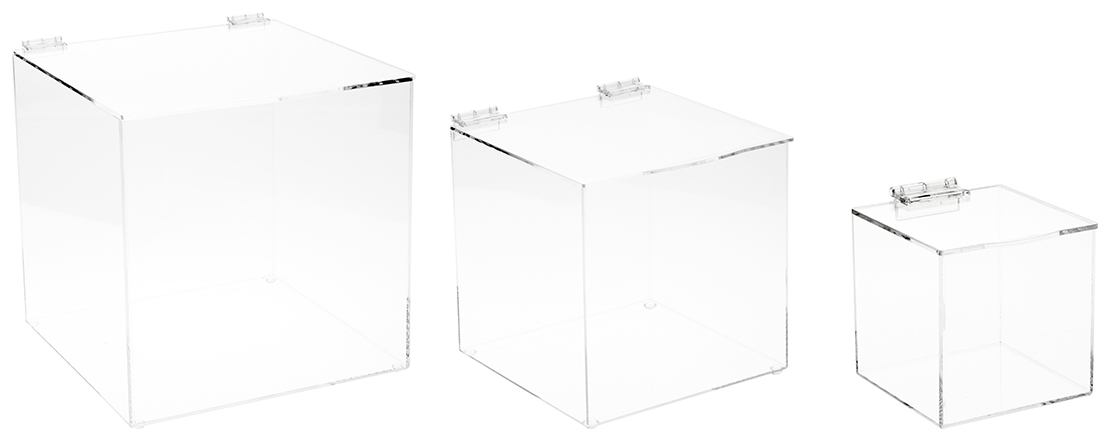 Acrylic Display Cases with Hinged Lid