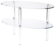 Clear Acrylic Oval 2 or 3 Shelf Unit