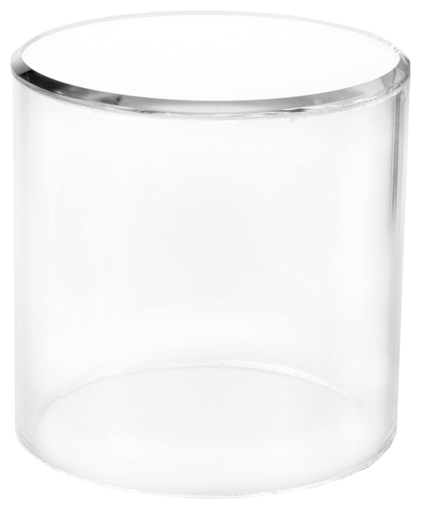"""2/"""" H x 2.5/"""" D Plymor Clear Acrylic Cylinder Display Riser with Mirror Top"""