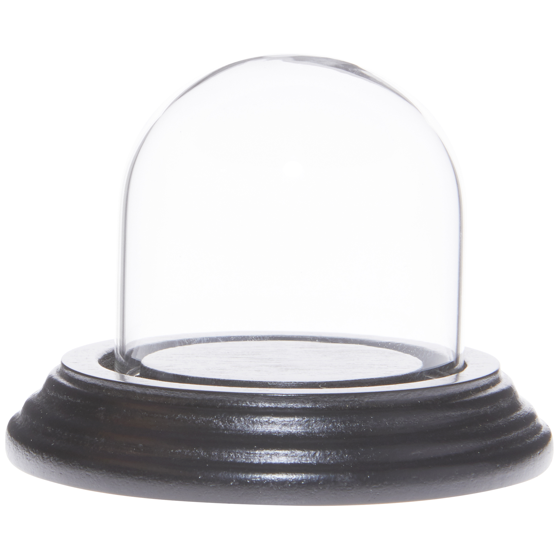"Plymor 3/"" x 3/"" Glass Display Dome Cloche Black Wood Base"